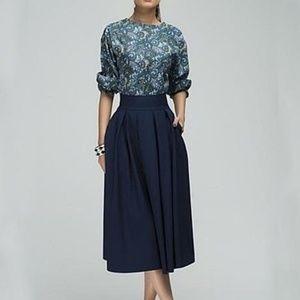 Dresses & Skirts - Women Floral Printed Party Elegant Blue Midi Dress